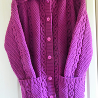 WOMENS ARAN COAT, HAND KNITTED, SIZE 16