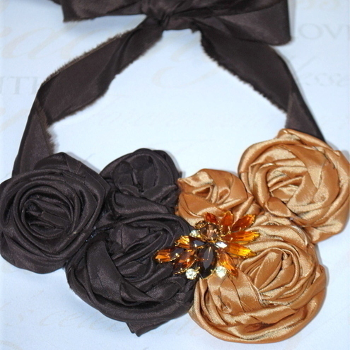 Chocolate & Gold Taffeta Roses & Vintage Brooch Necklace