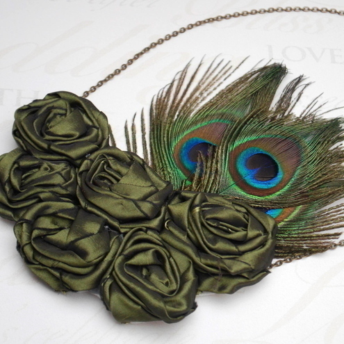 Emerald Green Taffeta Roses & Peacock Feathers Necklace