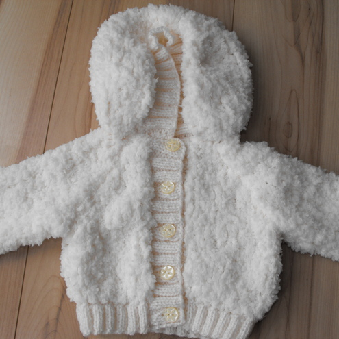 supersoft baby knitted hooded cardigan 0-3 months