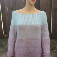 Chunky Mohair jumper in Purple and blue