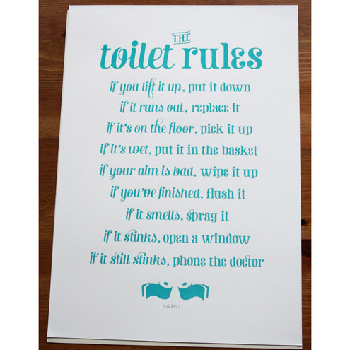 The Toilet Rules Handmade Silk Screen Print Folksy