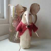 Primitive mouse, quirky mouse, mouse in knitted top.