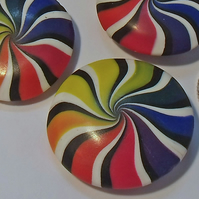 Muted Rainbow Swirl Polymer Clay Beads - Set of 3