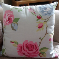 Agatha Duck Egg Blue Floral Cushion Cover