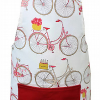 Apron with red bicycle design and red pocket