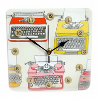 Clock - Kitsch Typewriter Fabric Foam Clock