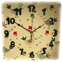 Wall Clock - Scandi Birds Fabric Foam Clock