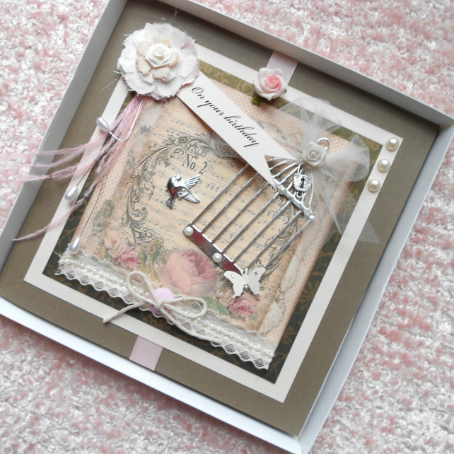 Vintage Shabby Chic Style Birthday Card Large Folksy – Large Personalised Birthday Cards