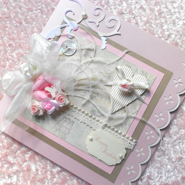 Shabby Chic Birthday Card Large Personalised Bo Folksy – Large Personalised Birthday Cards