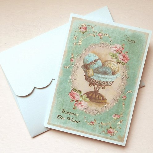 Notelets Notecards French Vintage style Shabby Chic  Set of 5 (Art Nt6)