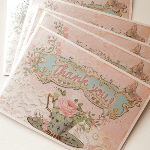 Thank You Notelets Vintage Shabby Chic Thank You Notelets Set of 5 (Art Nt 3)