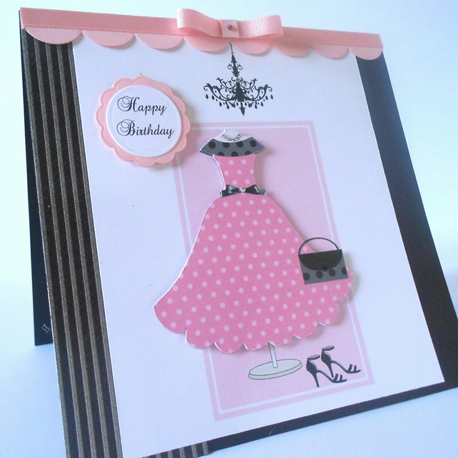 Birthday Card Modern Dress and Chandelier Large Folksy – Large Personalised Birthday Cards