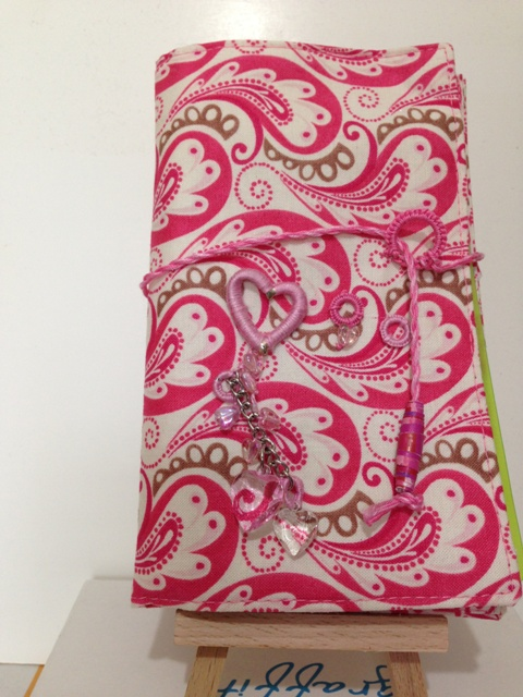 PINK HAND DECORATED FABRIC COVERED NOTEBOOK