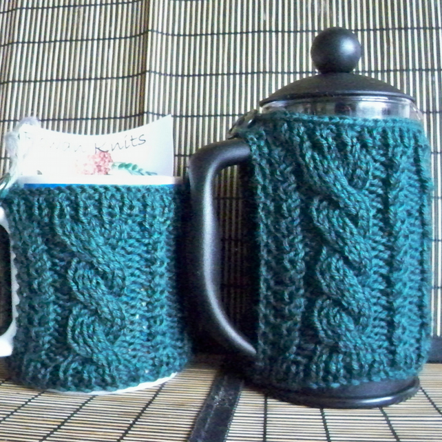 Coffee Pot Cosy Knitting Pattern : Hand knitted cafetiere cover coffee pot cozy an... - Folksy