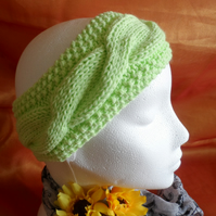 Hand Knitted Pale Green Chunky Earwarmer or Headband