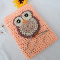 Hand Crocheted Peach Owl Kindle Nook Kobo E-reader Tablet Sleeve Cover Holder