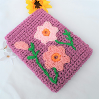 Hand Crocheted Heather Flowered Kindle Nook Kobo E-reader Tablet Cover Holder