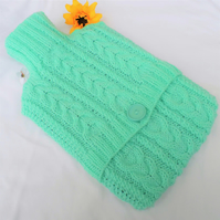 Hand Knitted Mint Green Cabled Hot Water Bottle Cover Cozy Cosy