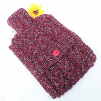 Hand Knitted Burgundy & Grey Tweed Cabled Hot Water Bottle Cover Cozy Cosy