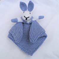 Hand knitted Baby Security Blanket, Comfort Cuddle Blankie, Snuggle Comforter