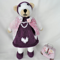 Hand Crafted Knitted Bear Animal Soft Toy with Removable Clothes Outfit Dress