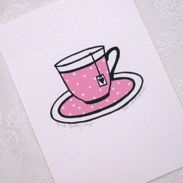 Pink and white polka dot cup hand-pulled screenprint