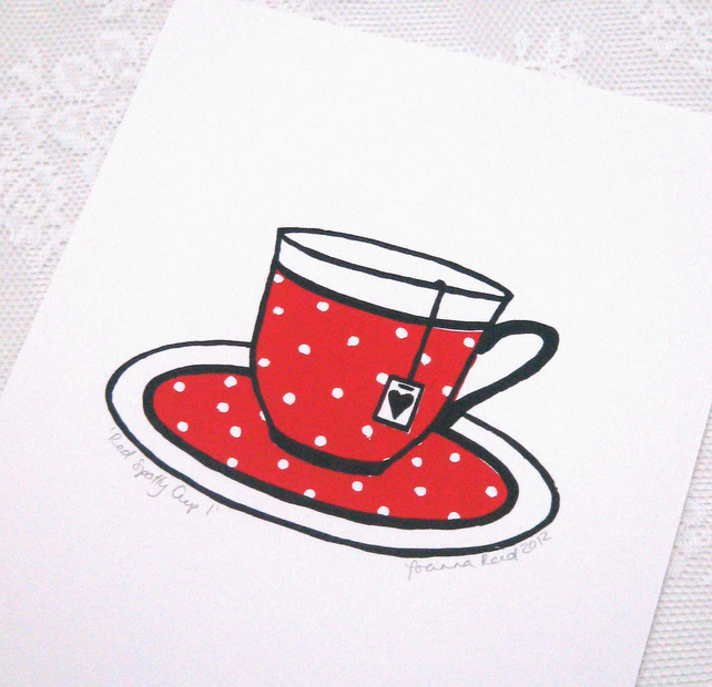 Red and white polka dot cup hand-pulled screenprint