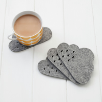 Cloud Felt Coaster set with punched rain detail - 100% 4mm grey mélange wool fel