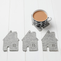 House Coaster set - grey mélange wool felt
