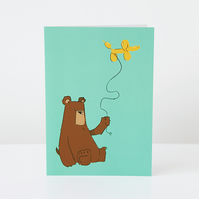 Grumpy Bear and Balloon Dog Greeting Card