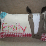 "Personalised ""pony"" cushion"