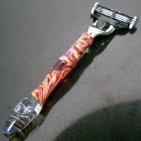 Ruby Swirls Mach3 Glass Razor