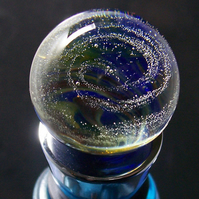 'Blue Lapis Nebula' galaxy marble wine stopper