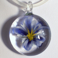 Blue & White Glass Flower Pendant SRA