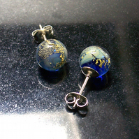 Little Cloudy Blue World Glass Studs SRA