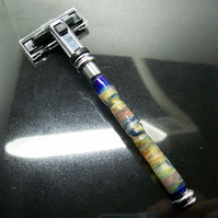 Mens Glass Razor -  Steampunk Glass Tortoise-shell
