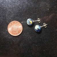 Reserved for She Draws -Little Cloudy Blue World Glass Studs SRA