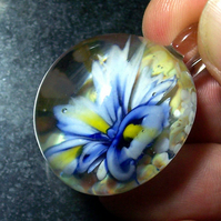 Blue & white Glass Flower Pendant Focal SRA