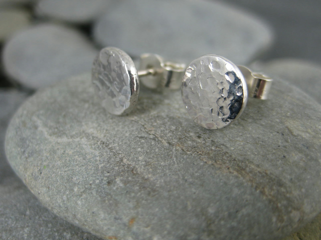 Hand Forged Sterling Silver Sparkly Hammerd Pebble Ear Stud Earrings 8mm
