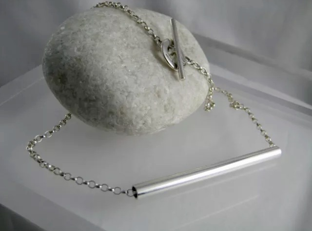Sterling Silver Abstract Tube Necklace - Handmade By CMcB Jewellery