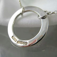 Sterling Silver Hammered Open Circular Necklace - Handmade By CMcB Jewellery