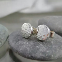 Hand Forged Sterling Silver Sparkly Hammered Pebble Ear Stud Earrings 6mm