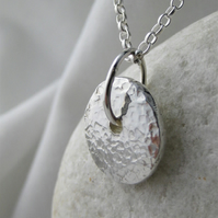 Hand Forged Sterling Silver Sparkly Hammered Pebble Pendant Necklace 18""