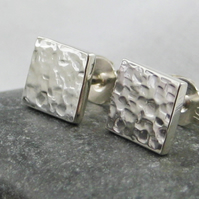 Sterling Silver Sparkly Hammered Square Ear Stud Earrings 6mm Handmade