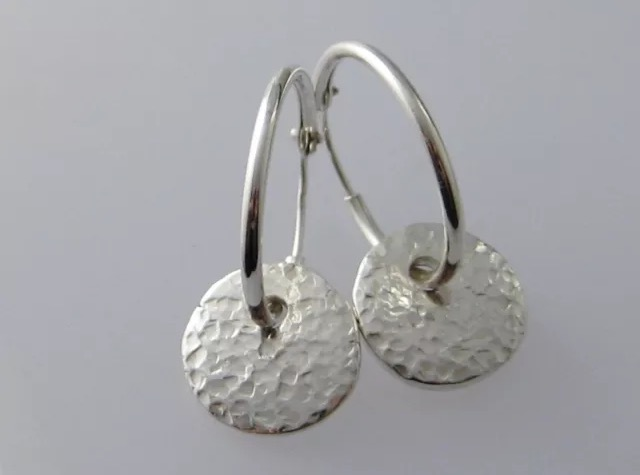 Hand Forged Sterling Silver Sparkly Hammered Pebble Bead Earrings