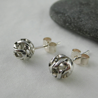 Sterling Silver Netted Ball Ear Stud Earrings 7mm - Handmade By CMcB Jewellery