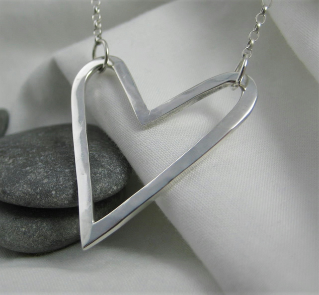 Modernist Abstract Hammered Heart Necklace - Handmade By CMcB Jewellery