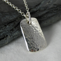 Sterling Silver Sparkly Hammered Rectangular Pendant Necklace 18""