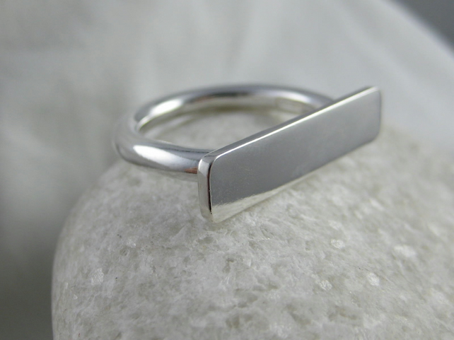 Abstract Sterling Silver Ring Size P - Handmade By CMcB Jewellery